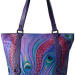 Anna by Anuschka Women's Genuine Leather Classic Large Tote | Hand Painted Original Artwork | Zip-Top Handbag |Dreamy Peacock Dewberry