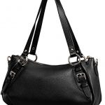 Heshe Vintage Leather Handbags Shoulder Bag Top Handle Purse Cross Body Fashion Bags Satchel for Women and Lady (Black)