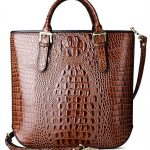 PIFUREN Women Leather Top Handle Crocodile Tote Handbags C69689(Brown)