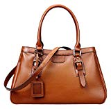 Heshe Women's Leather Handbags Top Handle Bag Shoulder Handbag Satchel Designer Purse with Long Shoulder Strap (Sorrel)
