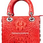 "Genuine Crocodile Skin Leather Women Top Handle Handbags Satchel Shoulder Tote Crocodile Bag Handmade (12""H x 8""L x 4""W, RED) # HB08"