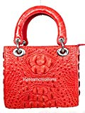 Genuine Crocodile Skin Leather Women Top Handle Handbags Satchel Shoulder Tote Crocodile Bag Handmade (12