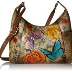 Anna by Anuschka Women's Genuine Leather Large Hobo Handbag | Hand Painted Original Artwork | Zip-Top Organizer | Floral Paradise Tan