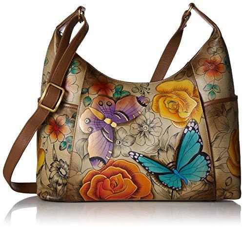 Anna by Anuschka Women's Genuine Leather Large Hobo Handbag   Hand Painted Original Artwork   Zip-Top Organizer   Floral Paradise Tan