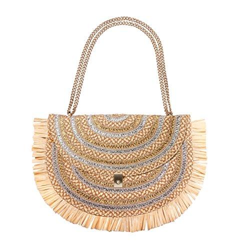 Eric Javits Luxury Fashion Designer Women's Handbag - Tiki Pouch - Peanut/Silver/Gold