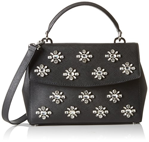 MICHAEL Michael Kors Women's Ava Jwl Sm Th Satchel Black Handbag
