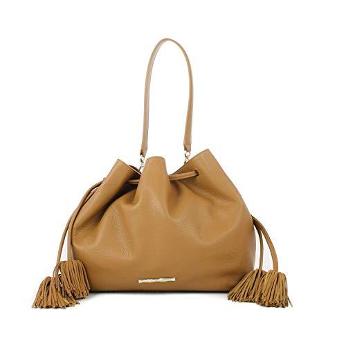 Elaine Turner Womens Rosie Carry-All Handbag Gold Camel Soft Pebble OSFA