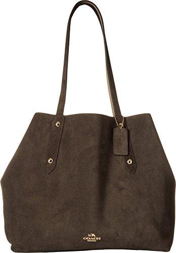 COACH Women's Suede Large Market Tote Li/Chestnut Stone Handbag