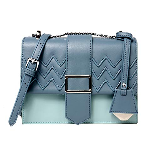 Heshe Womens Leather Small Shoulder Handbags with Link-chain Strap Fashion Woman Bag Ladies Purse Cube Bags Summer Style (Light Blue)