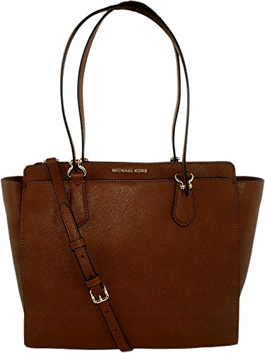 MICHAEL Michael Kors Womens Dee Dee Leather Convertible Tote Handbag Brown Large