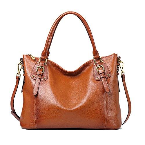 Kattee Women's Vintage Genuine Soft Leather Tote Shoulder Bag (Sorrel, Large)