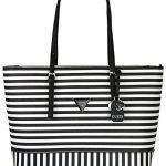 Guess Womens Saffiano Leather Balina Shopper Shoulder Tote Handbag - Black &White Stripe (Large)
