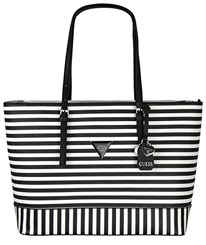 Guess Womens Saffiano Leather Balina Shopper Shoulder Tote Handbag - Black &White Stripe (Large)