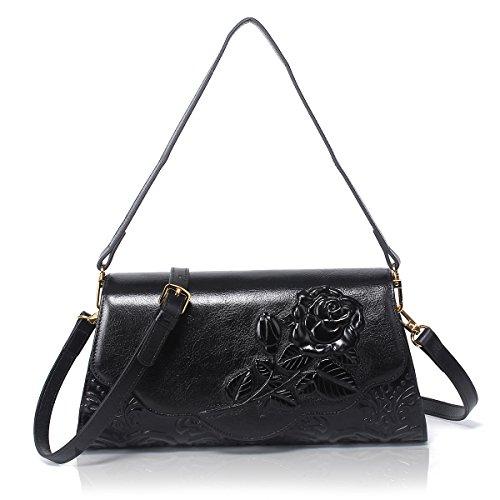 APHISON Designer Unique Embossed Floral handbags Women Genuine Leather Cross Body Shoulder Bags (black)