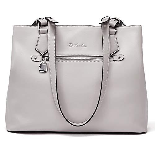 BOSTANTEN Women Handbag Genuine Leather Shoulder Bag Soft Designer Top Handle Purses Gray