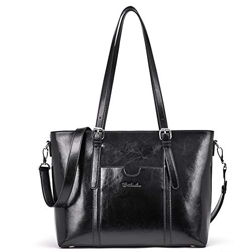 BOSTANTEN Women Leather Laptop Tote Office Shoulder Handbag Vintage Briefcase 15.6 inch Computer Work Purse Black