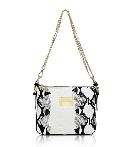 Bobby Schandra, DESIGNER LEATHER MESSENGER HANDBAG: BLACK & WHITE