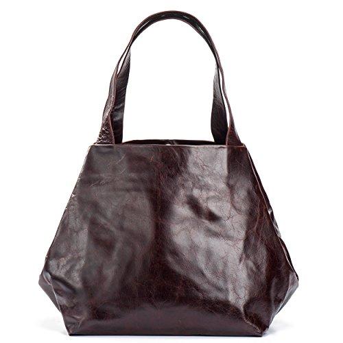 Kisim Timeless Women Cube Soft Leather Tote Handbag, Small - 8.7''x8.7''x7.1'' (Brown)