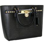 MICHAEL Michael Kors Women's Hamilton Traveler STUDDED Large TOTE Leather Handbag (Black)