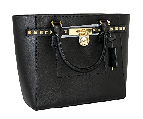 MICHAEL Michael Kors Women's Hamilton Traveler STUDDED Large TOTE Leather Handbag (Black)