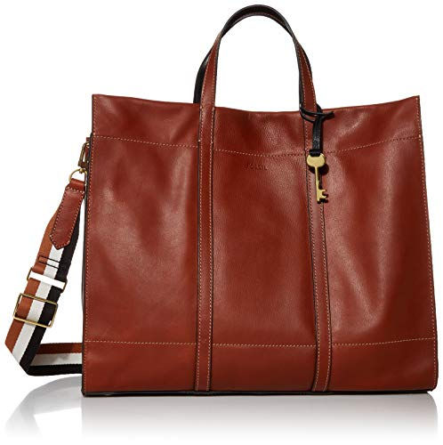 Fossil Women's Carmen Leather Tote Handbag, Brown