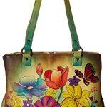 Anna by Anuschka Genuine Leather Multi pockets Organizer Handbag | Hand-Painted Original Artwork | Floral Garden