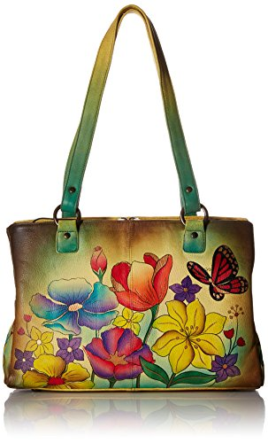 Anna by Anuschka Genuine Leather Multi pockets Organizer Handbag | Hand-Painted Original Artwork | Floral Garden