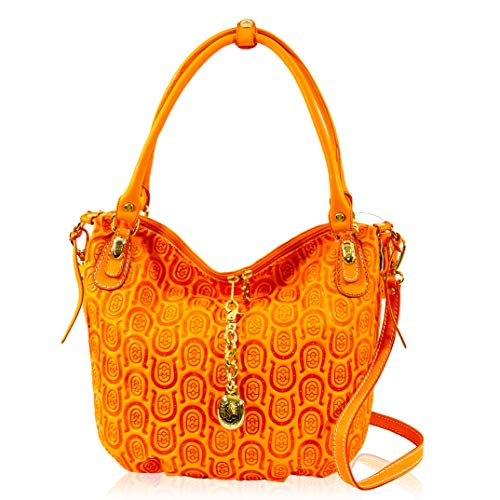 Marino Orlandi Women's Large Handbag Italian Designer Tote Purse Genuine Leather Top Handle Satchel Crossbody Bag in Amber Quilted Horseshoe Embossed Design