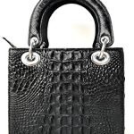 "Genuine Crocodile Skin Leather Women Top Handle Handbags Satchel Shoulder Tote Crocodile Bag Handamde (12""H x 8""L x 4""W, BLACK) # HB01"